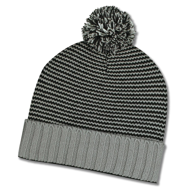 Knit Pom Striped Beanie Cuff